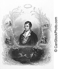 Robert Burns (1759-1796) on engraving from the 1800s....