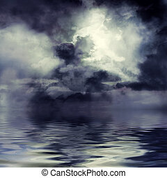 Dark and stormy - Moon shining through dark clouds over...