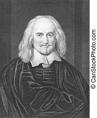 Thomas Hobbes 1588-1679 on engraving from the 1800s English...