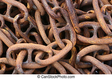 rusted chain - in a harbor in denmark  a rusted  chain