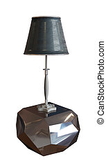Lamp with lampshade sitting on a metallic pedestal
