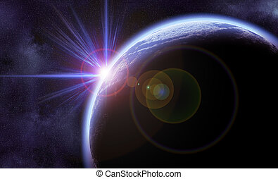 Space scene - Digital Illustration of bright planet in space...