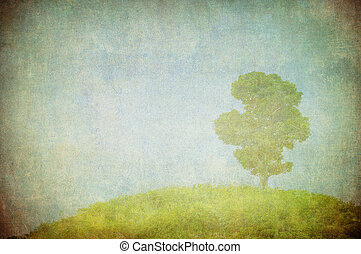 grunge image of a tree over grunge background - grunge image...