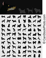 Collection of dogs - Black silhouettes of different breeds...