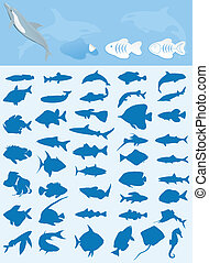 Collection of fishes - Silhouettes of sea and lake fishes A...