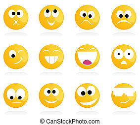 smile3 - Set of cheerful and sad smiles A vector...