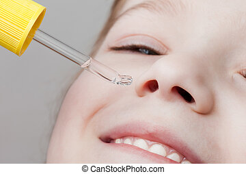 Applying nasal dropper - Medicine healthcare nasal dropper...
