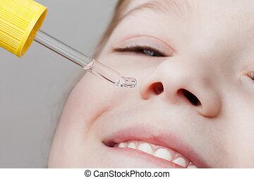 Applying nasal dropper - Medicine healthcare nasal dropper...