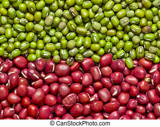 red and green mung beans