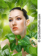 beauty portrait - a beauty girl on the leaves background