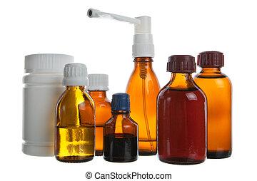Medical background - Medical supplies - vial bottles and...