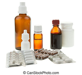 Medical background - Medical supplies - vial bottles and...