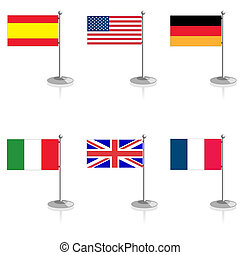 Flag on a support - Flags of the countries on a white...