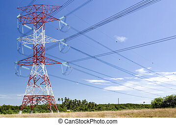 Electricity Pylon and Power Cables - Electricity pylon and...