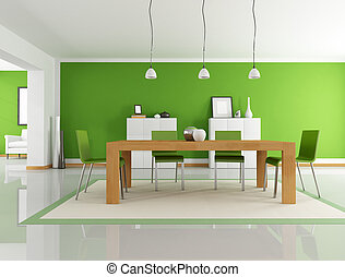 green dining room - modern dining room with wooden table and...