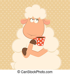 cartoon sheep has coffee from a cup