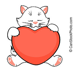 cartoon little kitten with heart