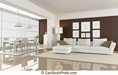 white and brown living room - modern living room with dining...