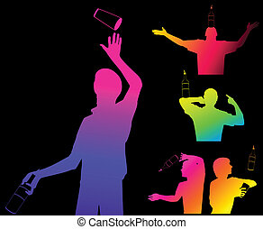 silhouette of barman - Vector silhouette of barman showing...