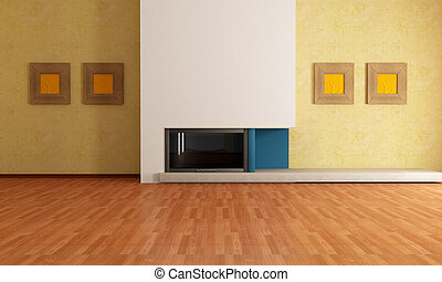 empty interior with fireplace - empty modern interior with...