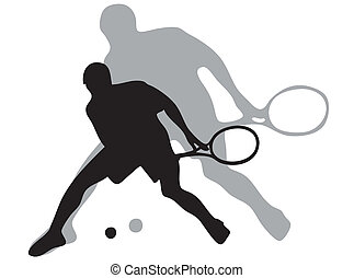 Tennis player and shadow