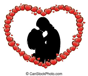 lovers on a background with hearts - Vector silhouette of...