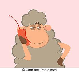 cartoon sheep speaks by phone
