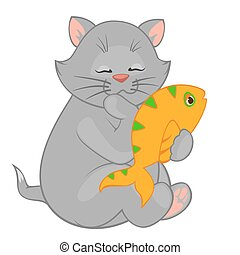 cartoon little kitten with fish