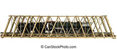 model bridge with brass model train - wooden model truss...