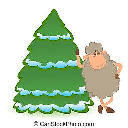 sheep dresses up a fir-tree