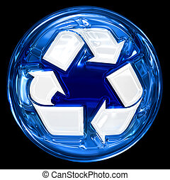 Recycling symbol icon blue, isolated on black background.