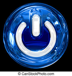 power button blue, isolated on black background.