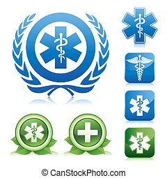 medical caduceus and asclepius sign - medical icons on...