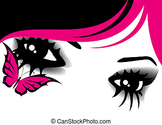 beautiful womanish eyes with bright mak-up in style of emo...