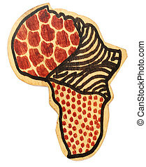 wooden africa continent - wooden continent of Africa with...