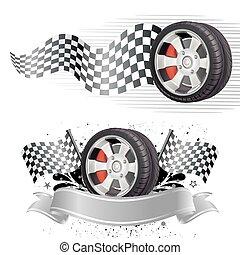 Automobile, course, élément