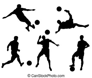 Football team - Silhouettes of the football players and...