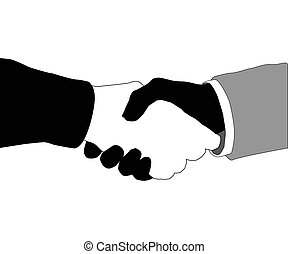 Friendship - Friendly hand shake of two hands on a white...