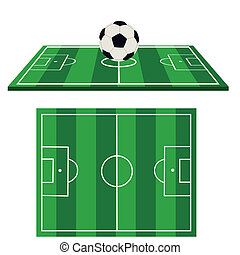 Football ground and football on a white background