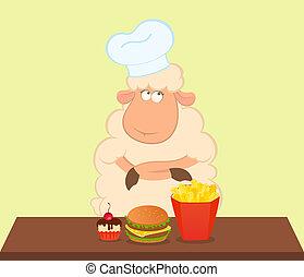 mouton, nuisible, sur, pense,  fastfood