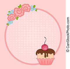 cupcake for design - valentine`s day frame with sweet...