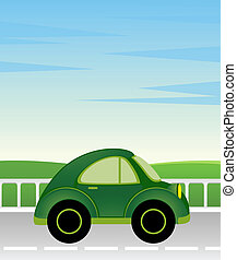 cartoon man and car - cartoon car on a background summer...