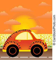 coche, caricatura, hombre