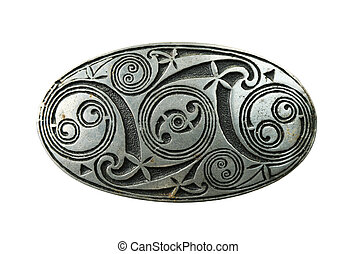 celtic shield brooch - pewter celtic shield brooch isolated...