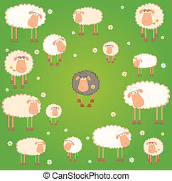 background with cartoon sheep