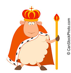 Vector king of sheep in a crown