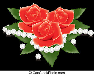 red roses and pearl beads - vector illustration of red roses...