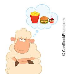 mouton, nuisible, sur, dessin animé, pense