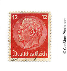 Postage stamp. - GERMANY - CIRCA 1934: An GERMANY Used Red...