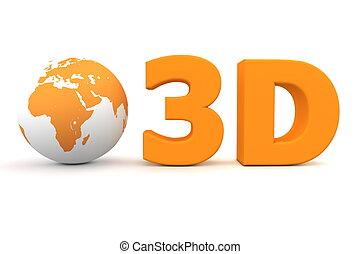 Global 3D - Matt Orange - matt orange word 3D with a 3D...